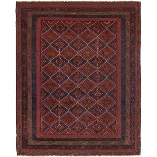 Price Check One-of-a-Kind Earley Hand-Knotted 4'10 x 6' Wool Red/Black Area Rug By Isabelline