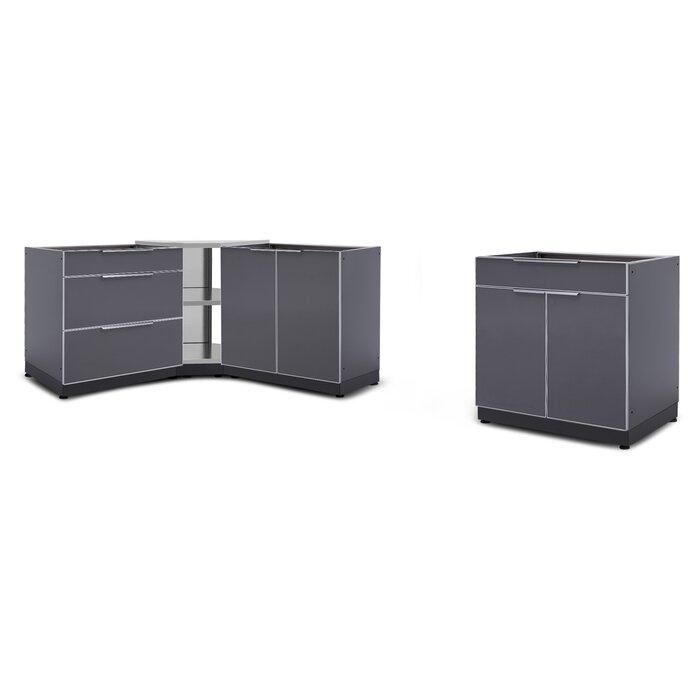 Stainless Steel 4-Piece Modular Outdoor Kitchen Cabinets