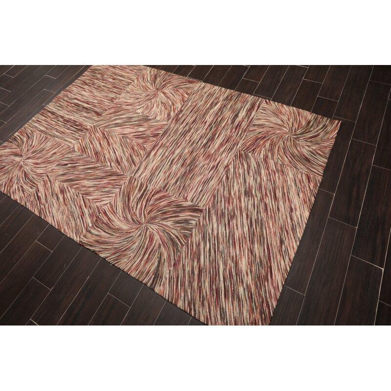 Ebern Designs Kachazun Abstract Hand Tufted Wool Ivory Brown Area Rug Wayfair