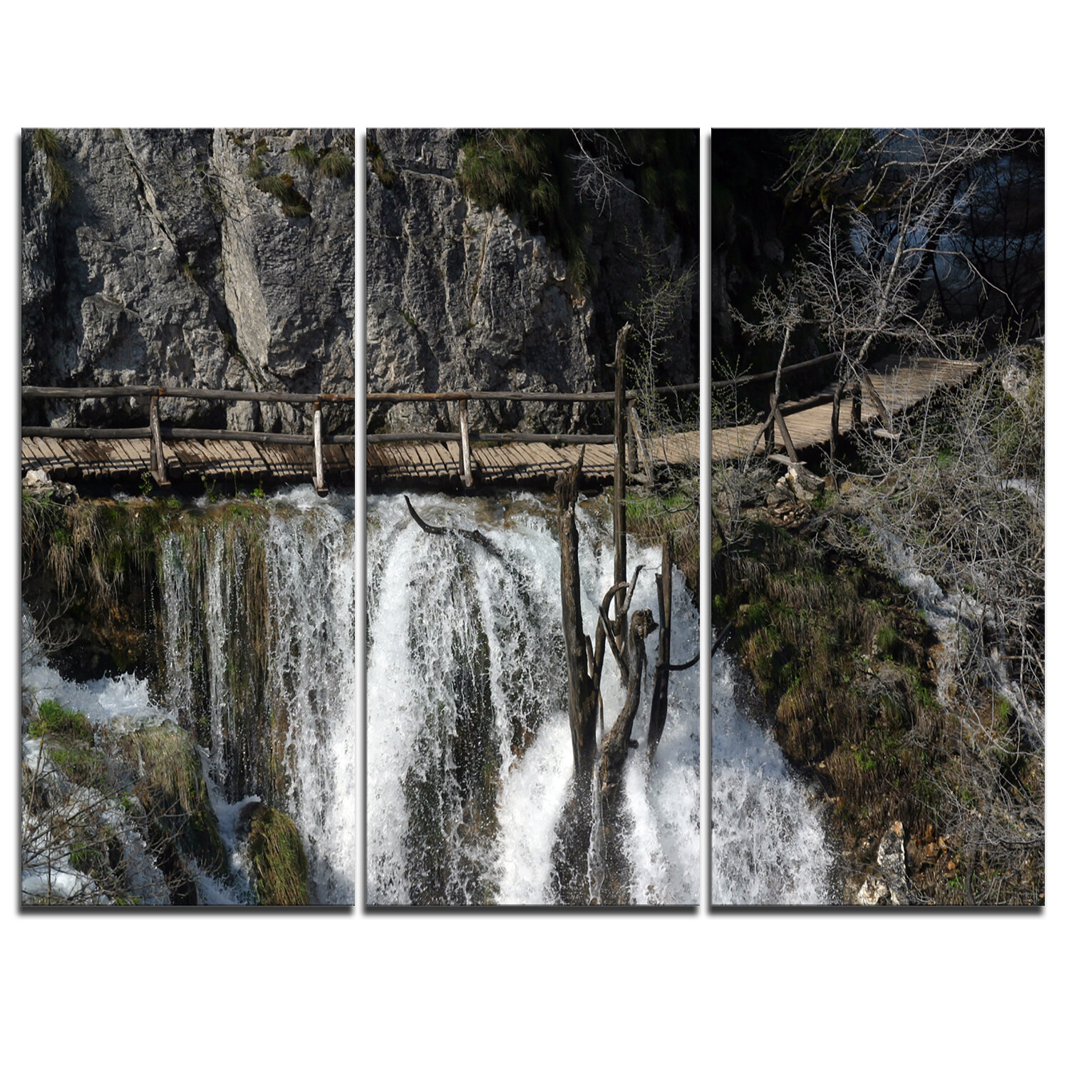 Designart Wooden Pathway In Plitvice Lakes Photographic Print On Wrapped Canvas Wayfair