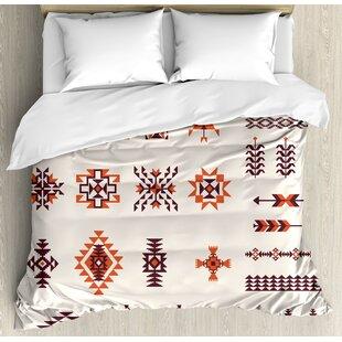 East Urban Home Native American Illustration of Aztec Pattern Tribal Geometric Print Duvet Set