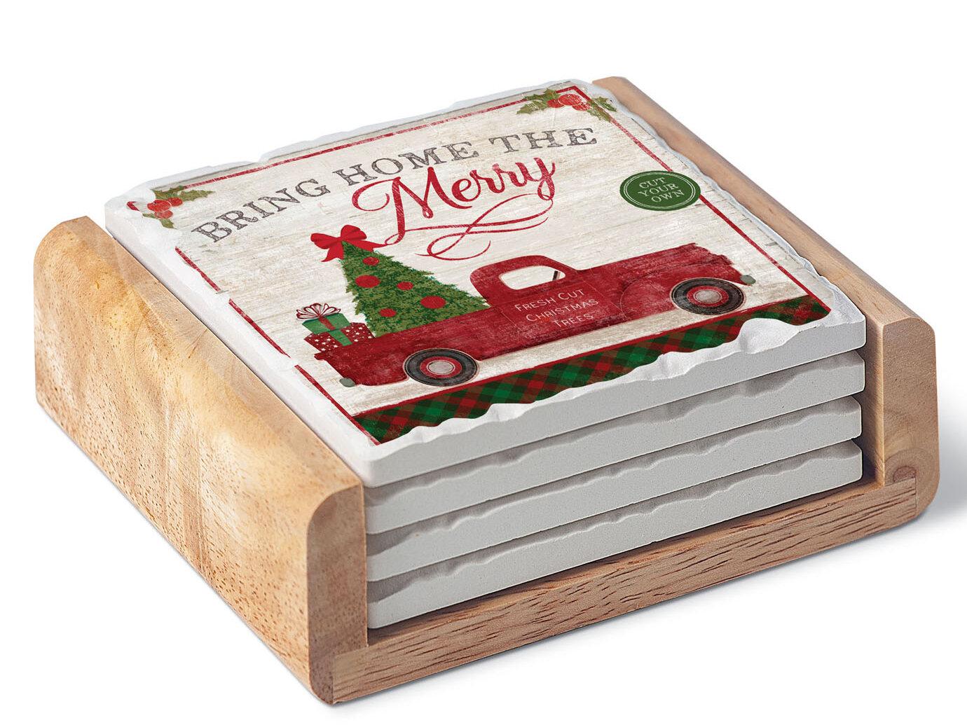 One Size Cork Backed CoasterStone Natural Christmas Set of 4 Coasters