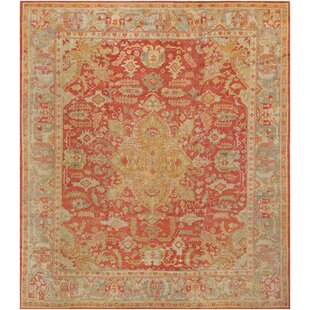 One-of-a-Kind Oushak Handwoven Wool Tomato Red/Beige Indoor Area Rug by Mansour