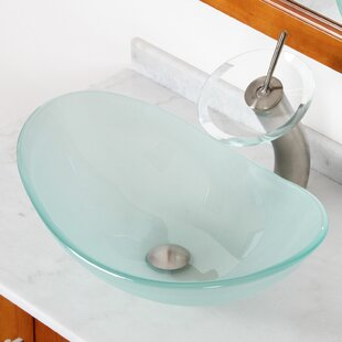 Best Choices Double Layered Tempered Glass U-Shaped Vessel Bathroom Sink By Elite