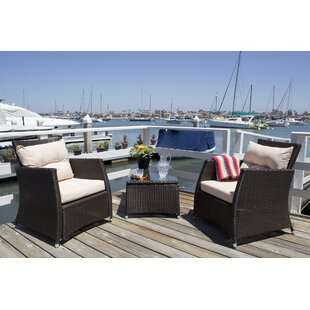 Devon 3 Piece Rattan Conversation Set with Cushions