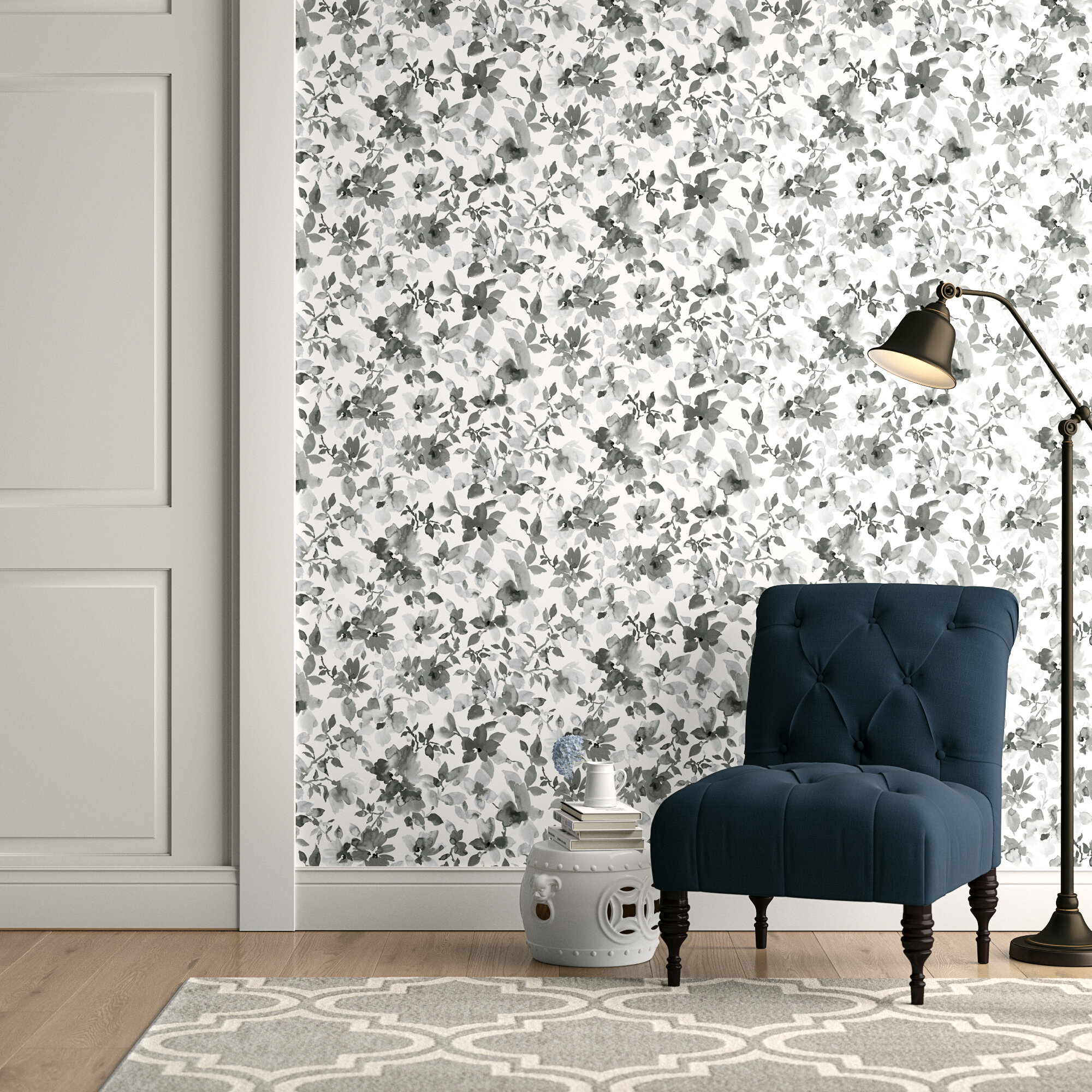Charlton Home Cao Floral Peel And Stick Wallpaper Roll Reviews Wayfair