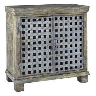 Kace Metal Lattice Work and Mango Wood 2 Door Accent Cabinet by Bloomsbury Market