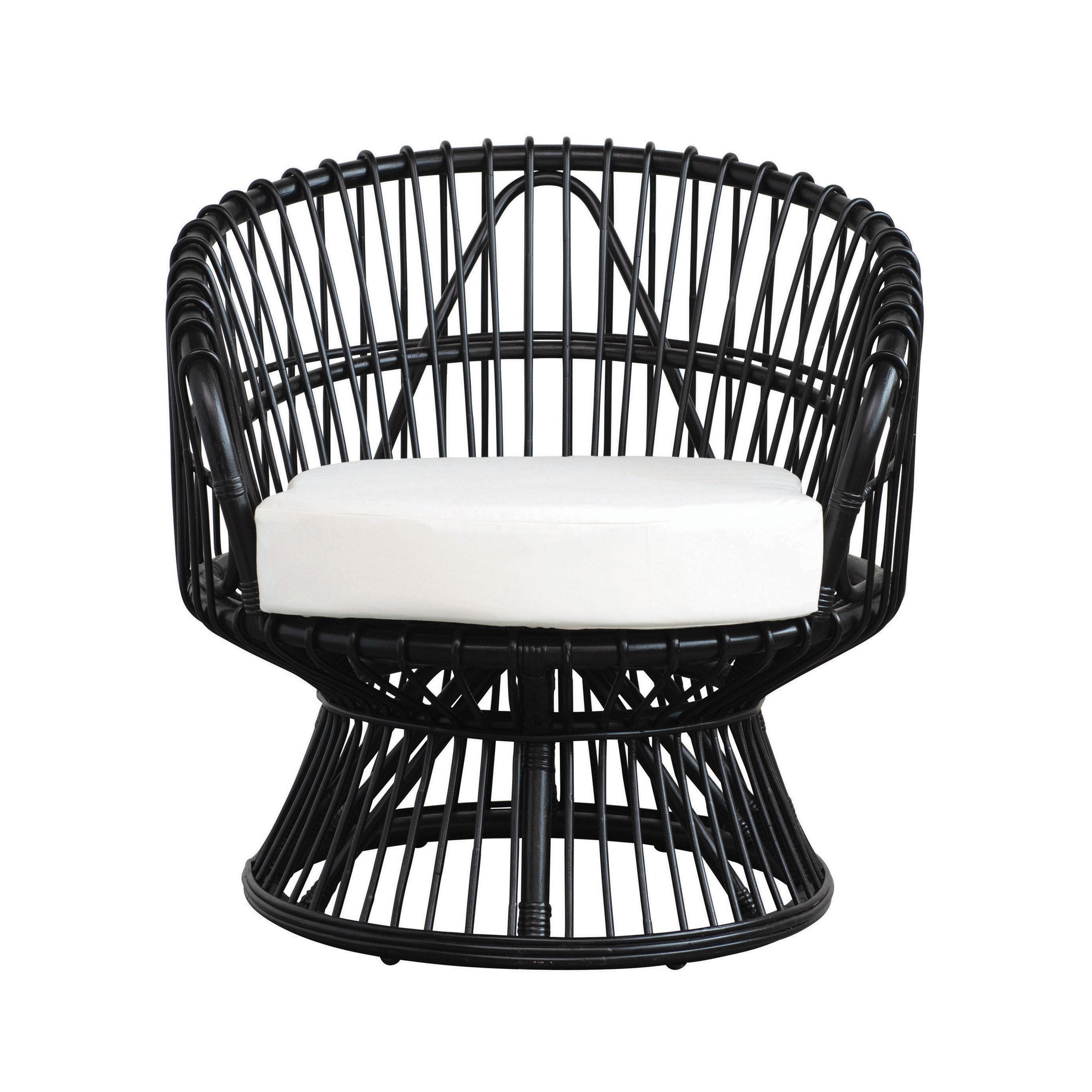 Bayou Breeze Viggo Handmade Rattan Chair With Cushion Black Wayfair
