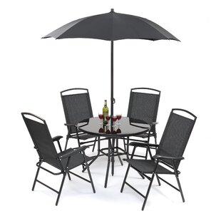 Latitude Run Buxton 5 Piece Dining Set with Umbrella