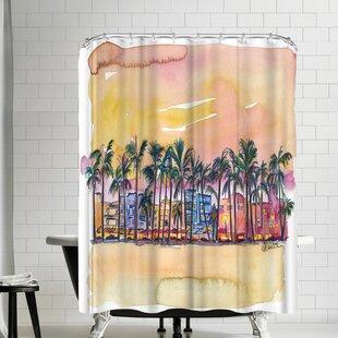 M Bleichner Miami Florida Ocean Drive Light Shower Curtain