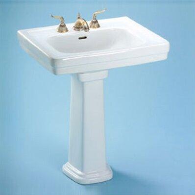Lavabo de salle de bain piédestal en céramique avec trop-plein 35 po. Promenade