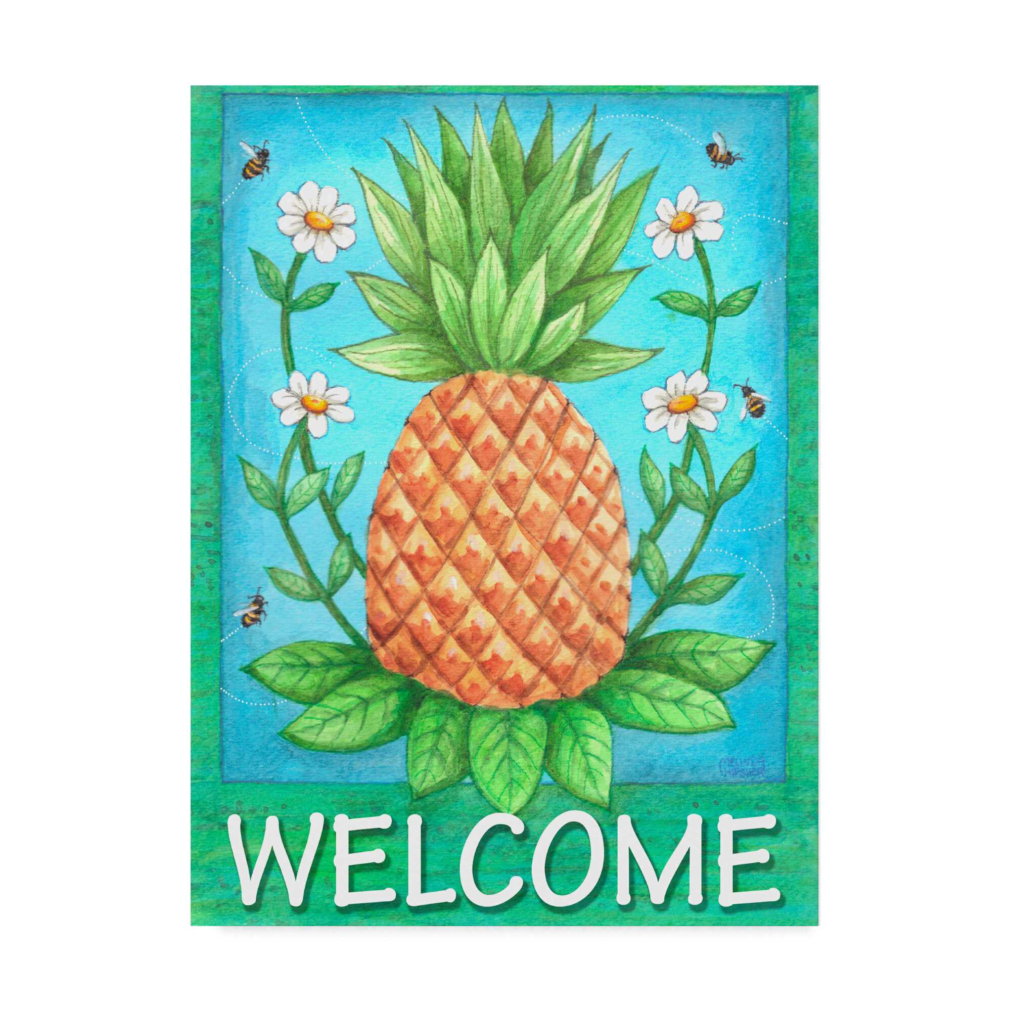 Winston Porter Pineapple Welcome Graphic Art Print On Wrapped Canvas Wayfair