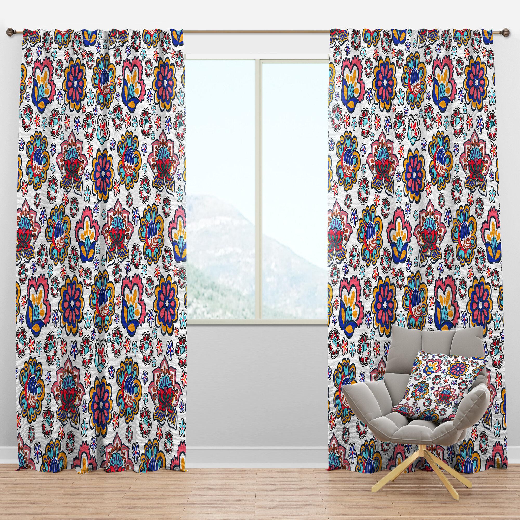Designart Mid Century Handdrawn Ii Floral Semi Sheer Thermal Rod Pocket Curtain Panels Wayfair