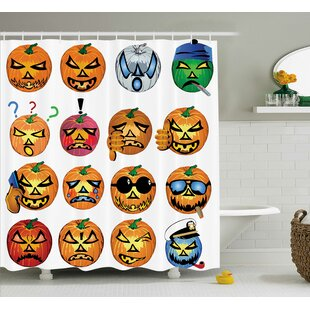 Find Halloween Decor Pumpkin Emoji Shower Curtain By The Holiday Aisle