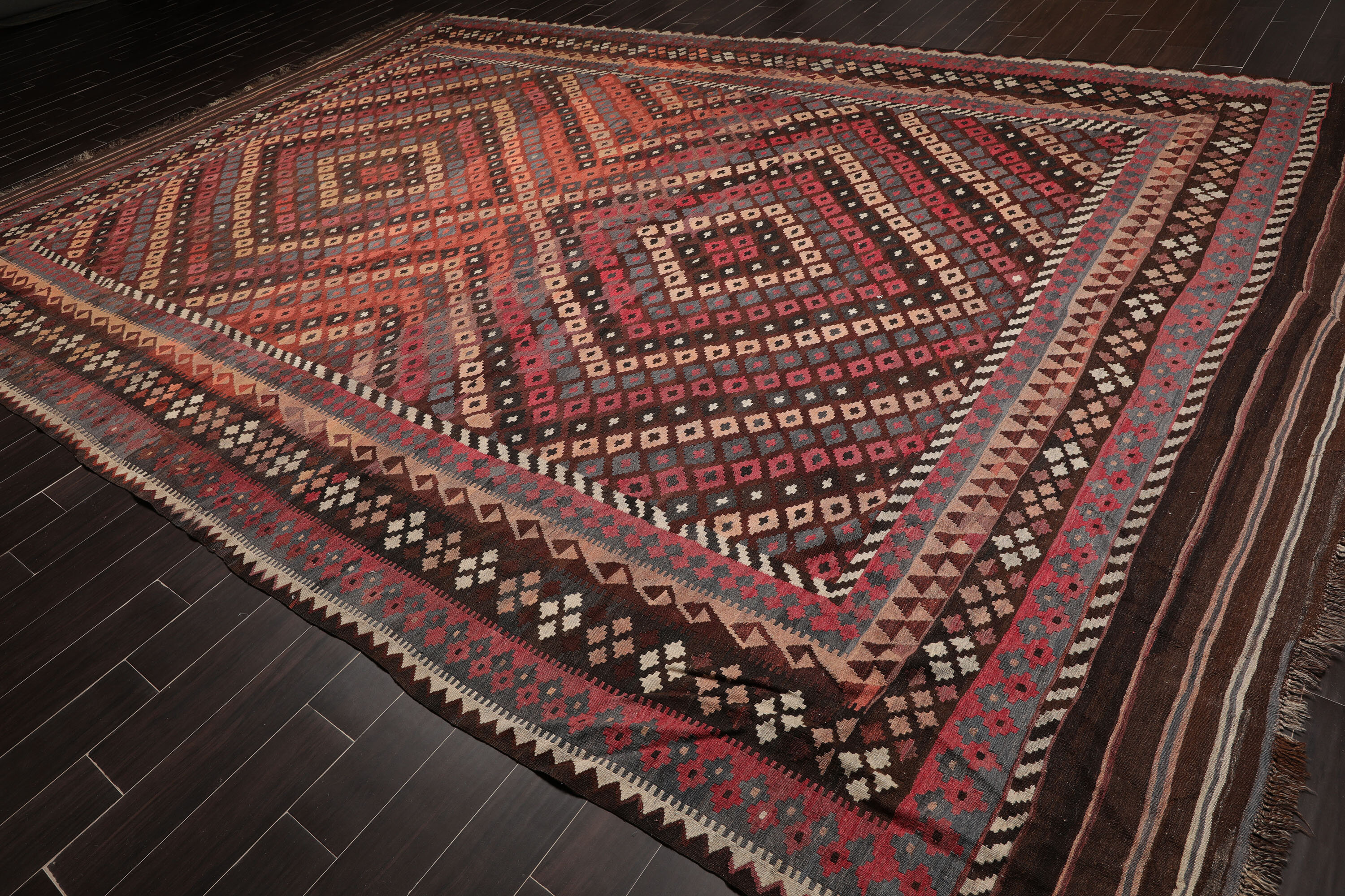 Oriental Rug Of Houston Palace Size Hand Woven Turkish Antique Afghan Kilim Ready To Use Ptofessionally Cleaned Handmade Flatweave Wool Rust Area Rug Wayfair