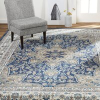 Deals on Charlton Home Arend Oriental Navy Blue Area Rug 7.10 x 10.6-ft