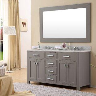 Raven 60 Double Bathroom Vanity Set with Rectangular Mirror