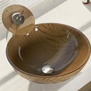 René By Elkay Tawny Glass Circular Vessel Bathroom Sink with Faucet