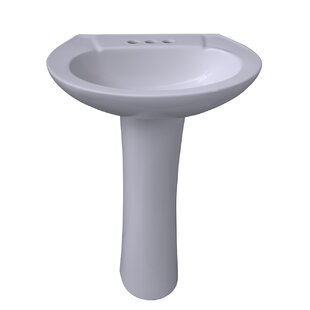 Barclay Chelsea 450 Vitreous China Oval Pedestal Bathroom Sink with Overflow