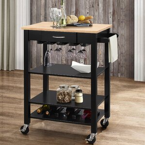 Monongah Kitchen Cart with Wood Top by Latitude Run