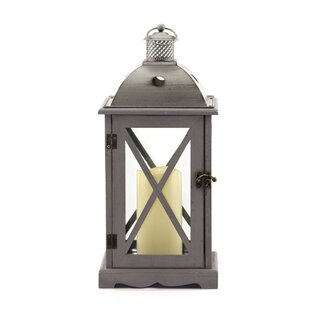 Inexpensive Crossbar Wood/Metal Lantern By Rosecliff Heights