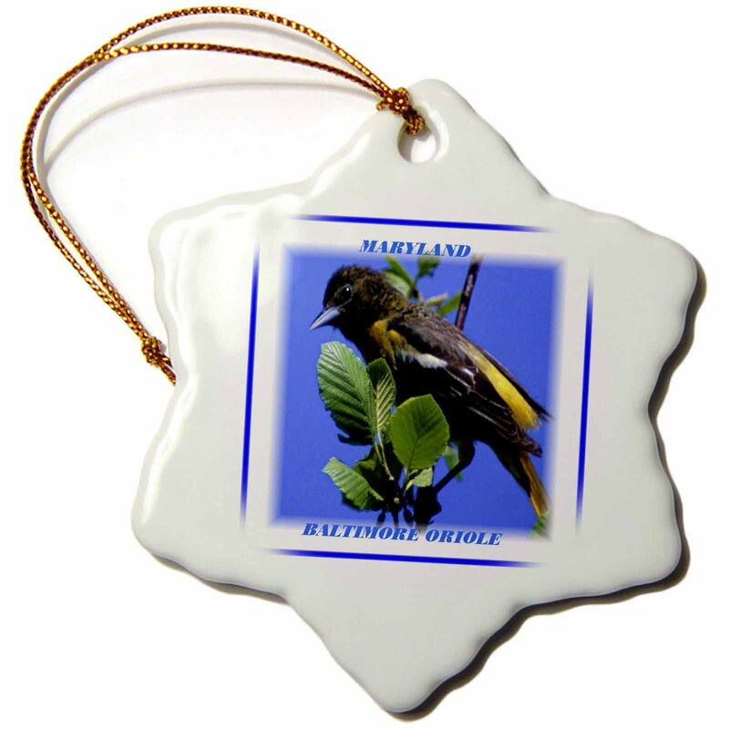 The Holiday Aisle Maryland State Bird Baltimore Oriole Holiday Shaped Ornament Wayfair