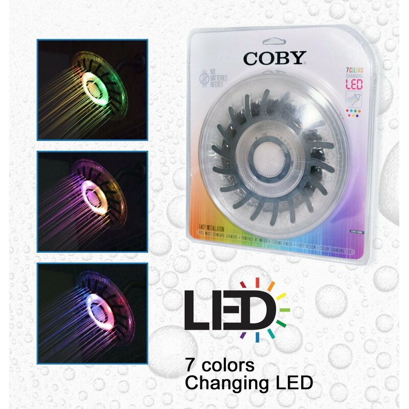 New Colorful Led Shower Head 7-color Changing Shower Head No Battery Led Waterfall Shower Head Round Bathroom Showerhead Shower Equipment Bathroom Fixtures