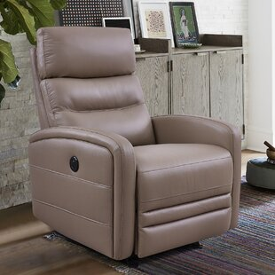 Goodlow Contemporary Leather Power Swivel Recliner