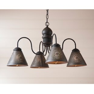 Gracie Oaks Whitmore Wood 4-Light Shaded Chandelier