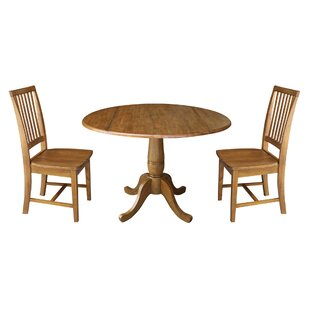 Spoon Round Top Pedestal Extending 3 Piece Drop Leaf Solid Wood Dining Set by August Grove