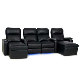 Red Barrel Studio Leather Home Theater Sofa (Row of 4)