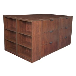 Linh Stand Up Storage Cabinet and 3 Lateral File Quad with Bookcase End by Latitude Run
