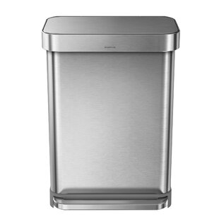 simplehuman 14.5 Gallon Rectangular Step Trash Can with Liner Pocket