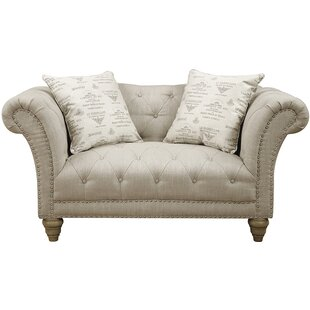 Faye 67 Tufted Loveseat in Off-White by Emerald Home Furnishings