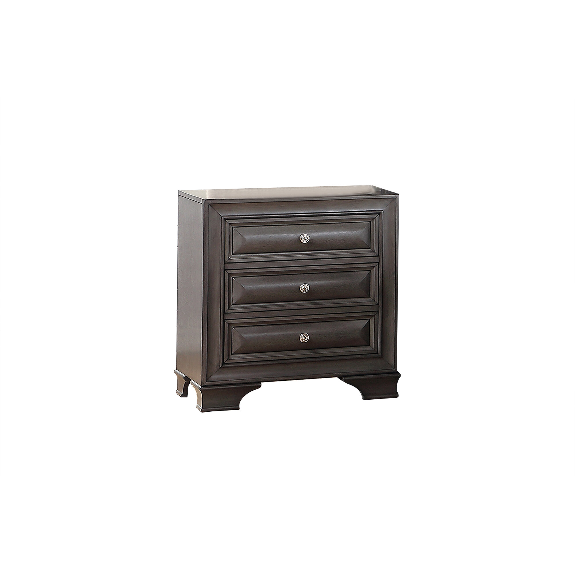 Red Barrel Studio Azeneth 3 Drawer Nightstand In Dark Gray Wayfair