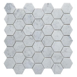 Carrara Hexagon 2 X Marble Mosaic Tile In White