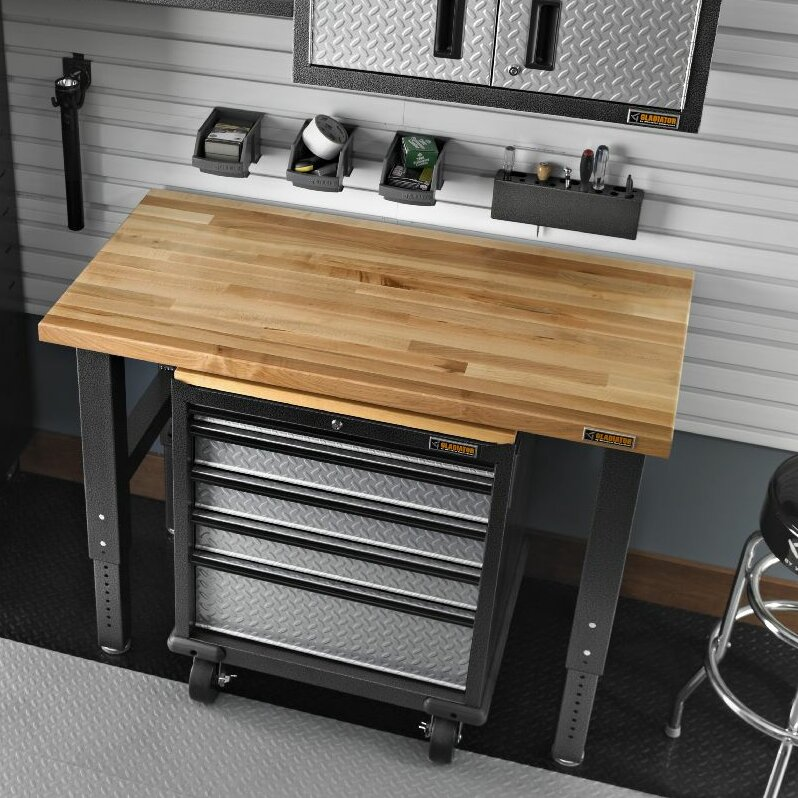 Butcher Block Workbench >> Gladiator Workbenches 48 Adjustable Height Butcher Block Top Workbench
