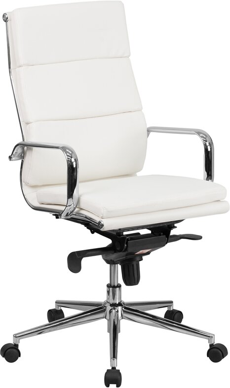 Wade Logan Senne Leather Desk Chair Reviews Wayfair - White leather office chairs