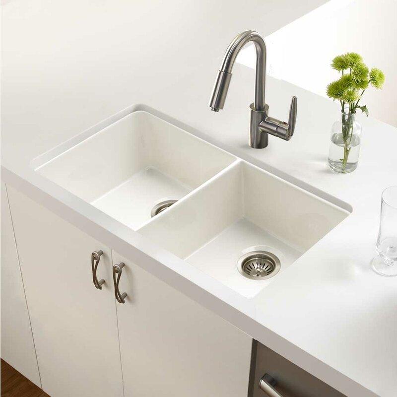 Houzer Platus Fireclay 32 X 18 Apron Double Basin Kitchen Sink Wayfair