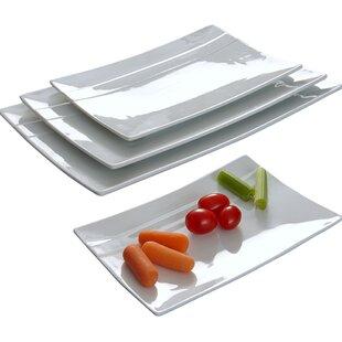 Rectangular Striped 4 Piece Plate Set  sc 1 st  Wayfair & Rectangular Plates u0026 Saucers Youu0027ll Love | Wayfair
