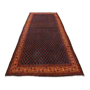 Order One-of-a-Kind Hollifield Vintage Overdyed Wide Hand-Knotted Runner 3'4 x 8'2 Wool Black Area Rug By Isabelline