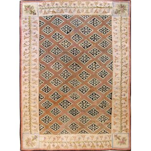 One-of-a-Kind Antique Aubusson Handwoven Wool Beige/Pink Indoor Area Rug by Mansour