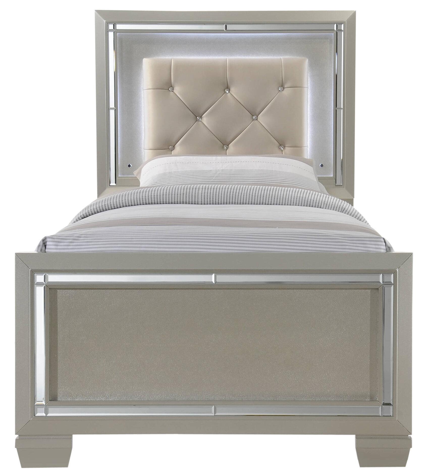 Rosdorf Park Domenick Twin Upholstered Platform Bed Frame with LED ...