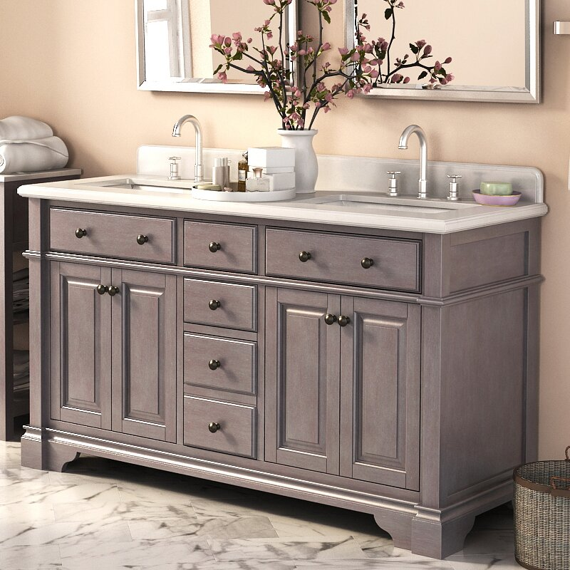 "Bathroom Double Sink Vanity darby home co essie 60"" double vanity set with backsplash"