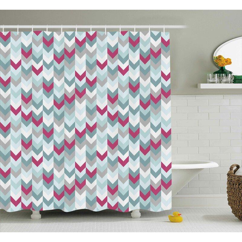 Kristine Chevron Symmetric Stripes Shower Curtain