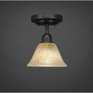 Kash 1-Light Beige/Dark Granite Semi-Flush Mount by Williston Forge