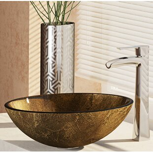 Find a Regal and Earth Tones Glass Circular Vessel Bathroom Sink with Faucet ByRené By Elkay