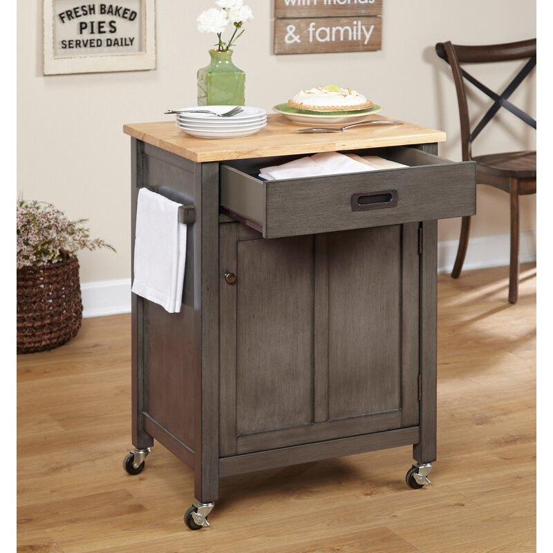 Gracie Oaks Jonesville Kitchen Cart with Butcher Block Top & Reviews Wayfair