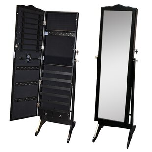 Darby Home Co Whitman Free Standing Wood Jewelry Armoire with Mirror