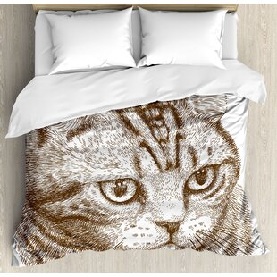 East Urban Home Cat Portrait of a Kitty Domestic Animal Hipster Best Company Fluffy Pet Graphic Art Duvet Set
